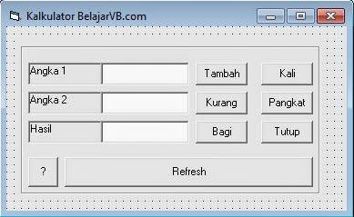 Membuat Kalkulator Dengan VB 6.0