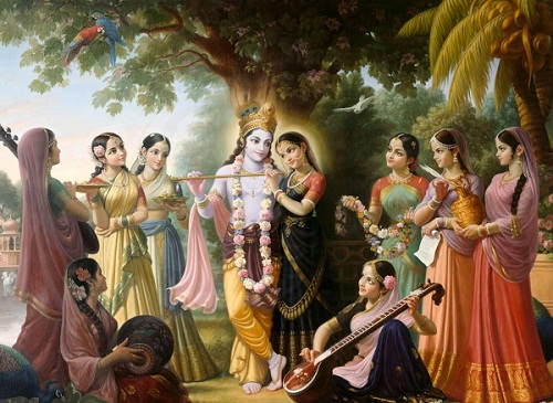 Lord Krishna Image with Gopis