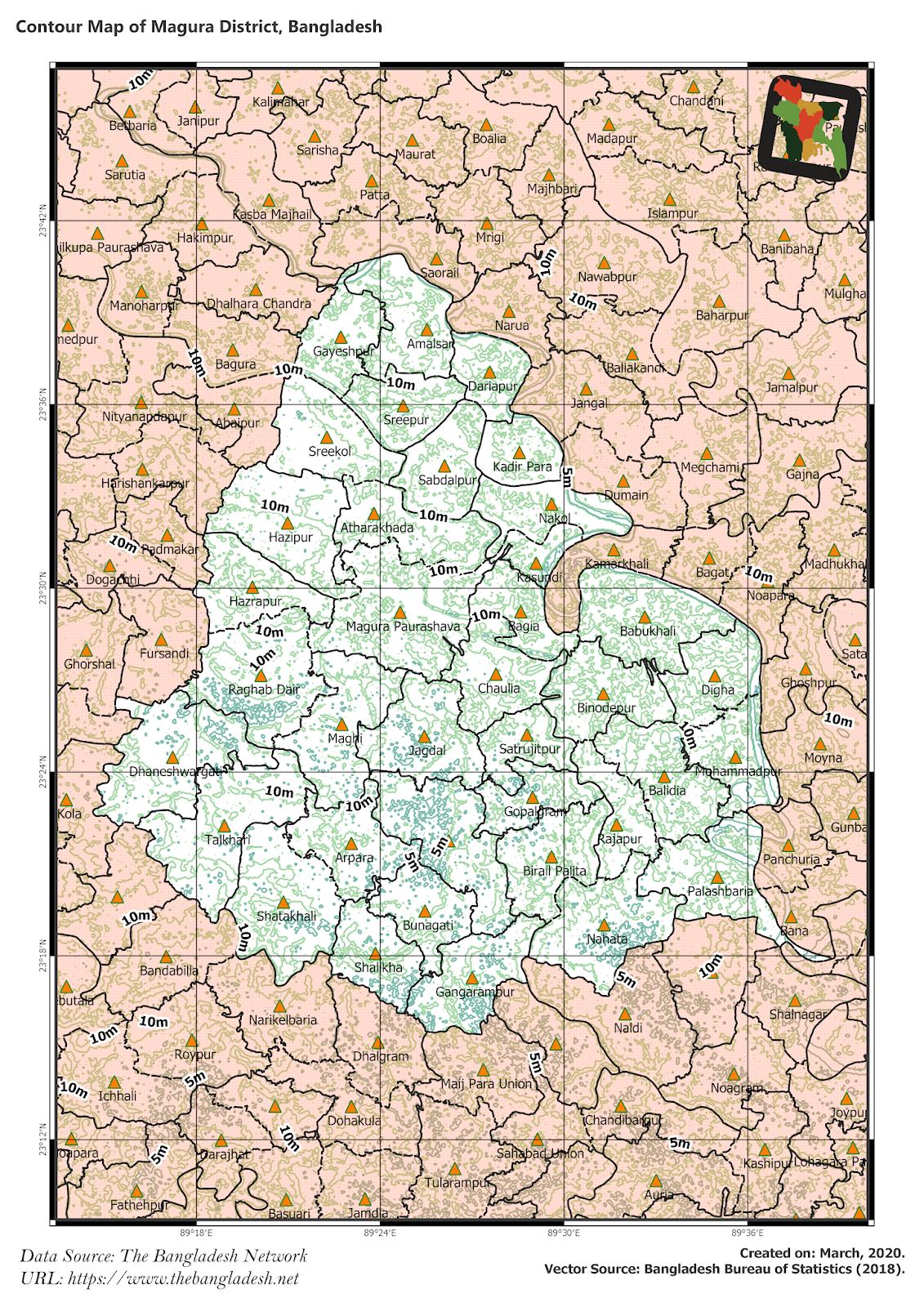 Elevation Map of Magura District of Bangladesh