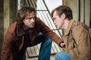 "Jared Padalecki as Sam Winchester and Alexander Calvert as Jack in Supernatural 13x01 ""Lost and Found"""