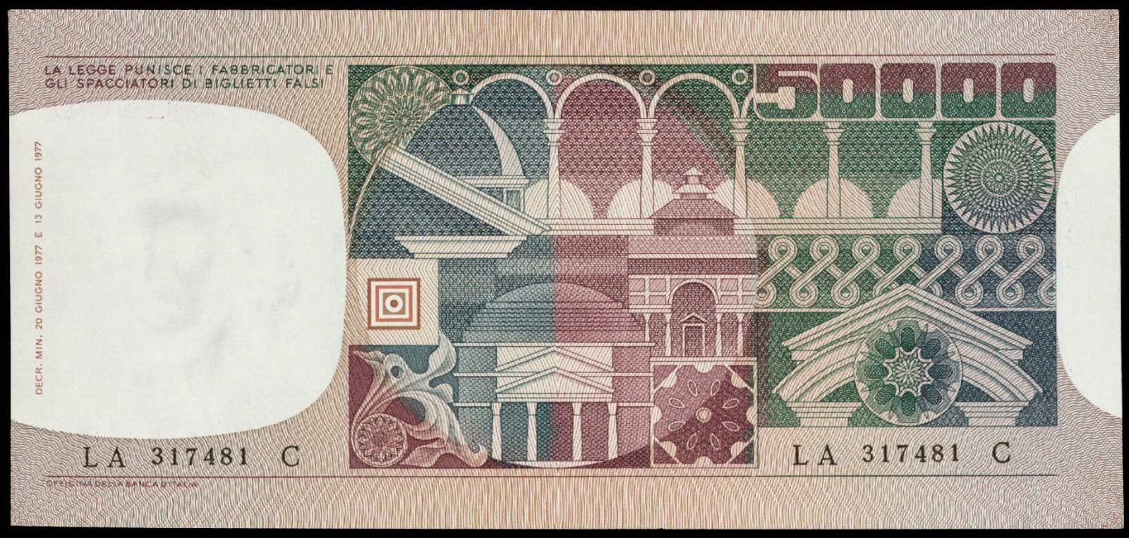 50000 Italian lira banknote