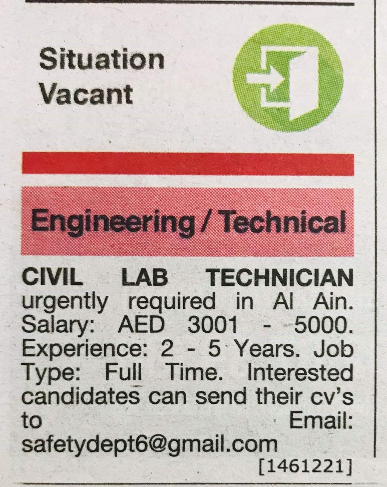 Required Civil Lab Technician for UAE Local Hiring Jobs Khaleej
