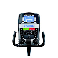 Schwinn Journey 2.5's console, image, with Dual Track 2 blue backlit LCD screens