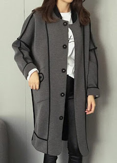 Long Sleeve Single Breasted Grey Coat