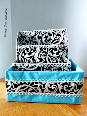 Vintage, Paint and more... trim embellishment added to the boxes for a diy dish organizer