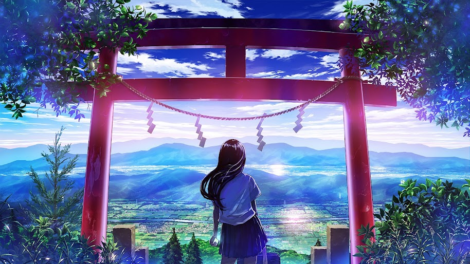 Anime Japanese Gate Shrine Girl Scenery 4k Wallpaper 25