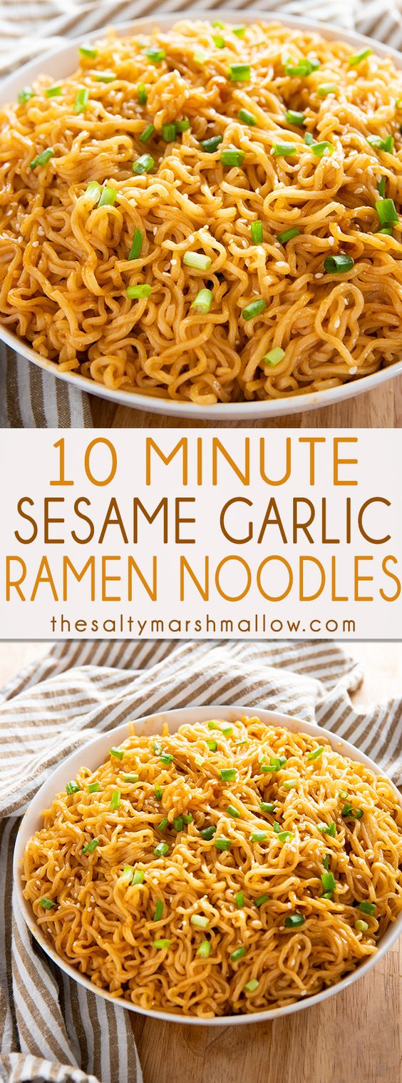 Sesame Garlic Ramen Noodles Recipe – The best ramen noodle recipe made easy at home with a simple and super flavorful sauce!  Learn how to make ramen taste even better in a snap!