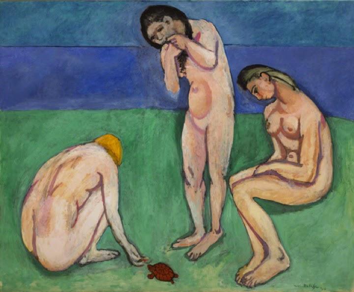 Banhistas com Tartaruga - Pinturas de Matisse, Henri - (Fauvismo) Francês