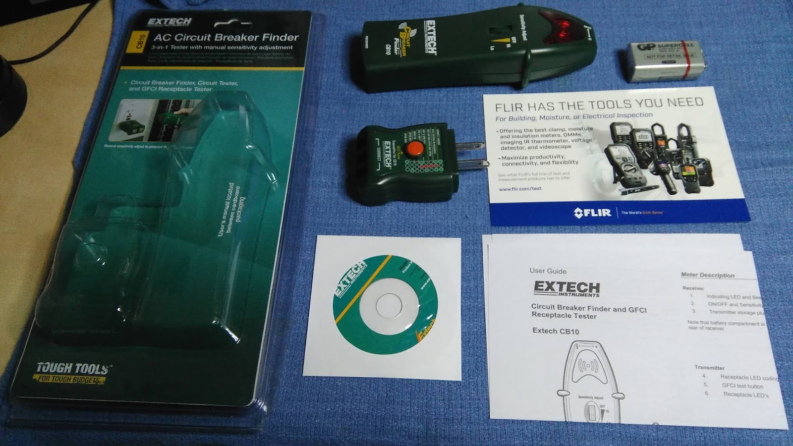 Tech Stuff Extech Cb10 Circuit Breaker Finder Reviews Online Shopping On Heres Everything You Get In The Package Its Nice That They Include 9v Battery And I Did Check It Came At 10 Volts Which Was