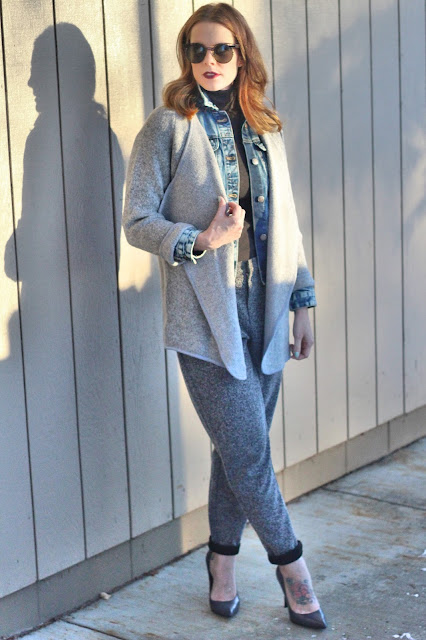 Grey coat and pants outfit