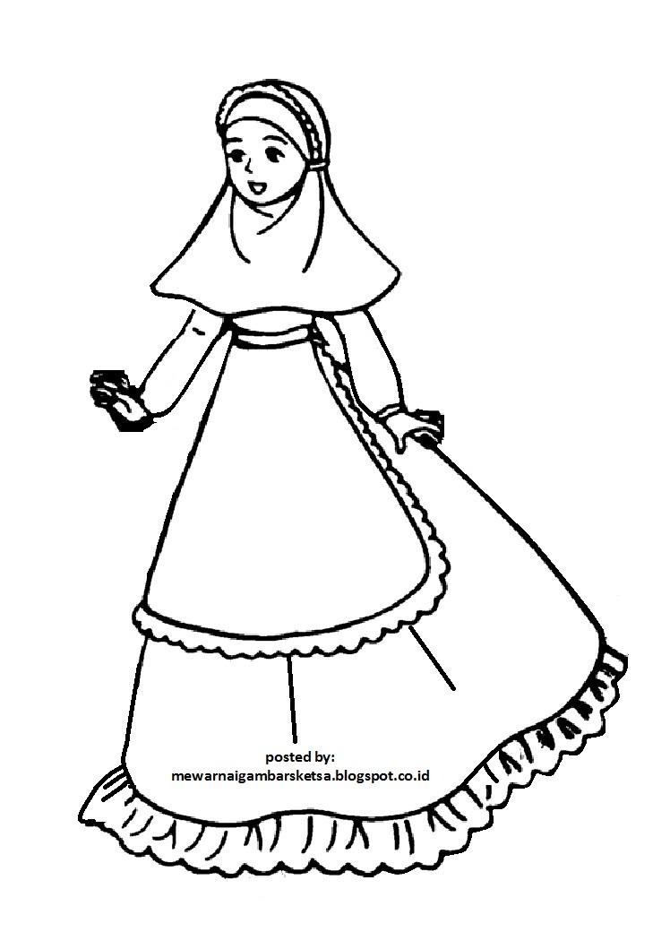 Mewarnai Gambar Sketsa Kartun Anak Muslimah