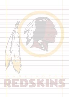 Folha Papel Pautado Washington Redskins PDF para imprimir na folha A4
