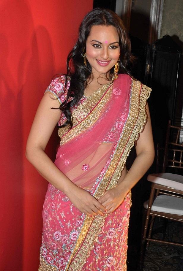 Actress Sonakshi Sinha Long Hair Hip Show In Pink Designer Sari