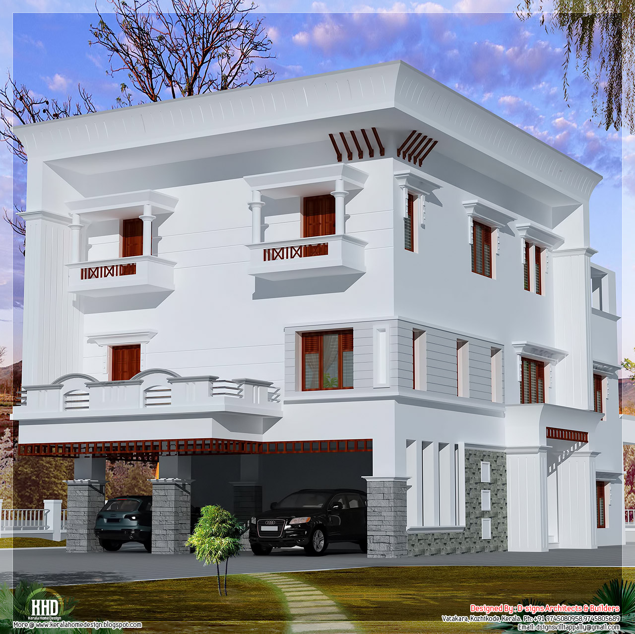3 storey flat roof home design kerala home design and for Storey house designs