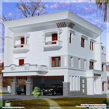 3 Storey Flat Roof Home Design - Kerala And