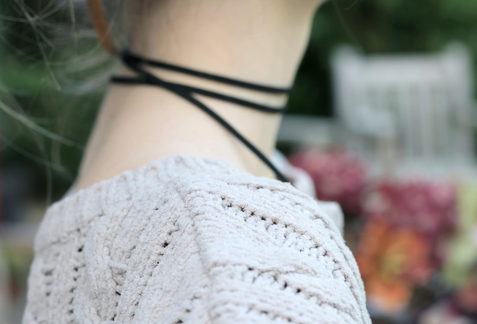 Black double wrap long suede choker