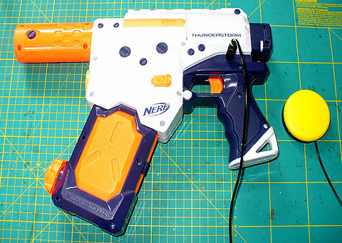 NERF Thunderstorm switch adapted water pistol.