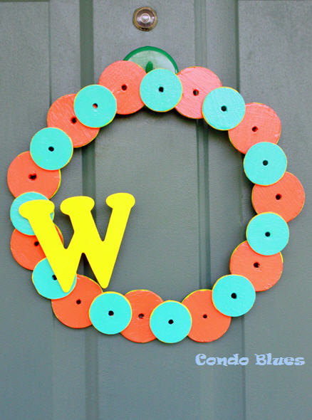 wood initial door wreath