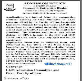 Jagannath University Masters Admission Notice Result 2019 1