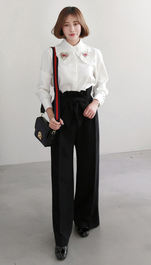 Black Ribbon Belt Tapered Waist Pants