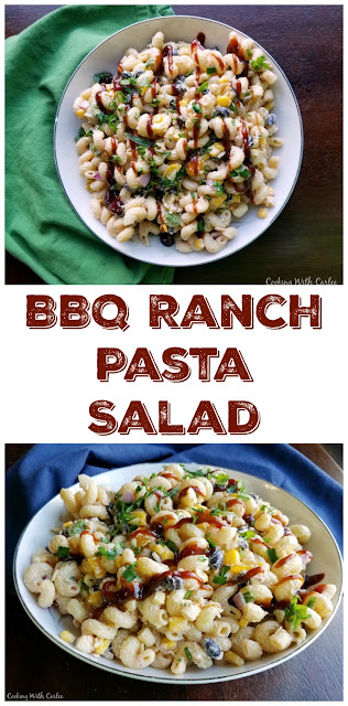 This pasta salad has it all, BBQ, ranch, tomatoes, avocados, corn and more! It's perfect for picnics, BBQs, potlucks and more!