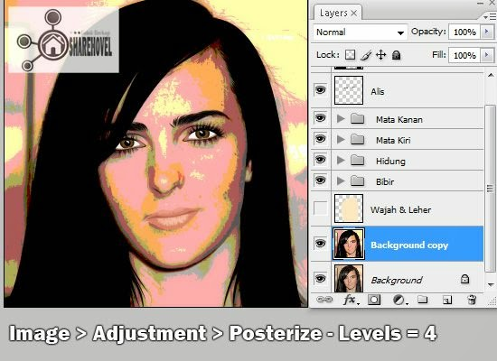 tracing wajah vector di photoshop - tutorial membuat vector di photoshop - membuat foto menjadi kartun dengan photoshop