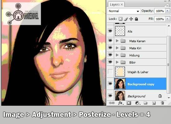 tracing wajah vector di photoshop - tutorial membuat vector di photoshop - membuat foto menjadi kartun dengan photoshop