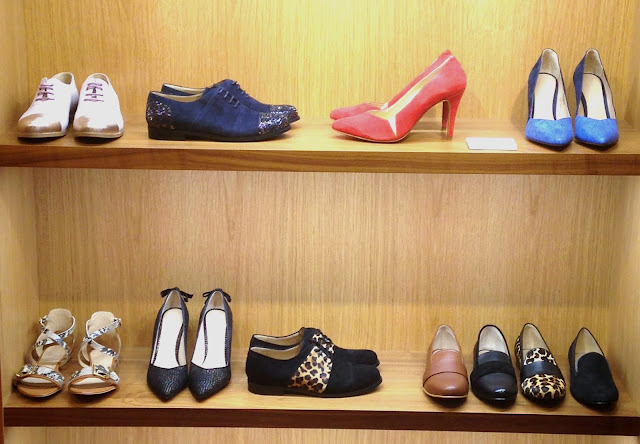 Selection of shoes on display