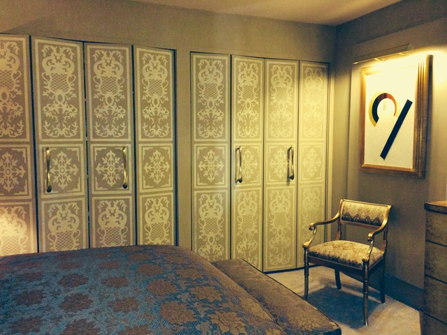 Closet doors after stenciling