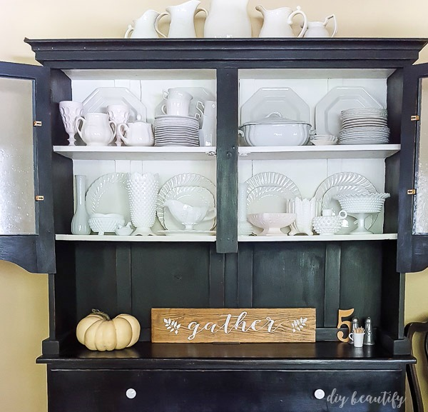 collection of milk glass and ironstone | diy beautify