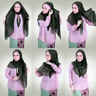 Tutorial hijab segi empat simple untuk sehari hari