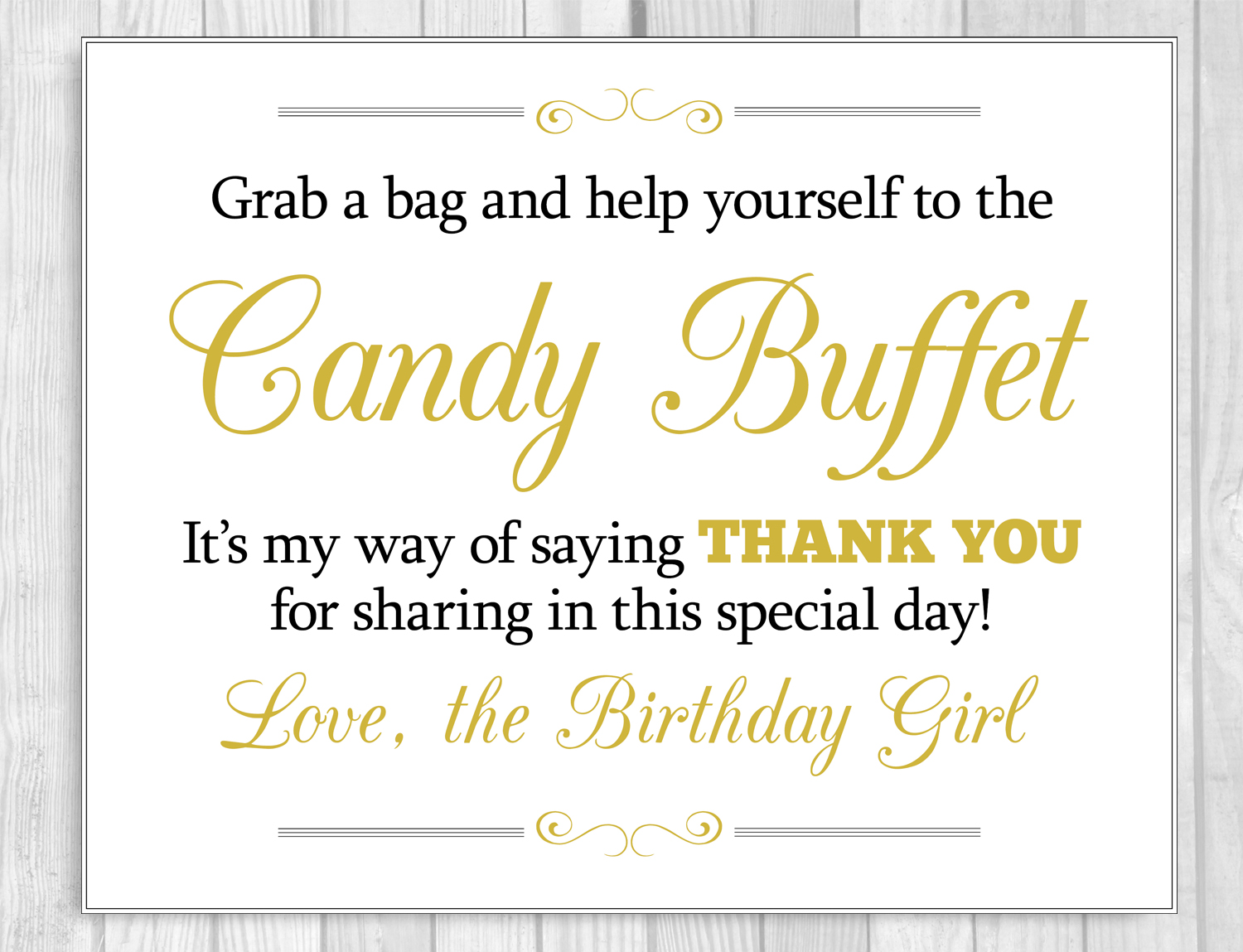 Weddings by Susan: Girl\'s Birthday Candy Buffet Signs - Instant ...