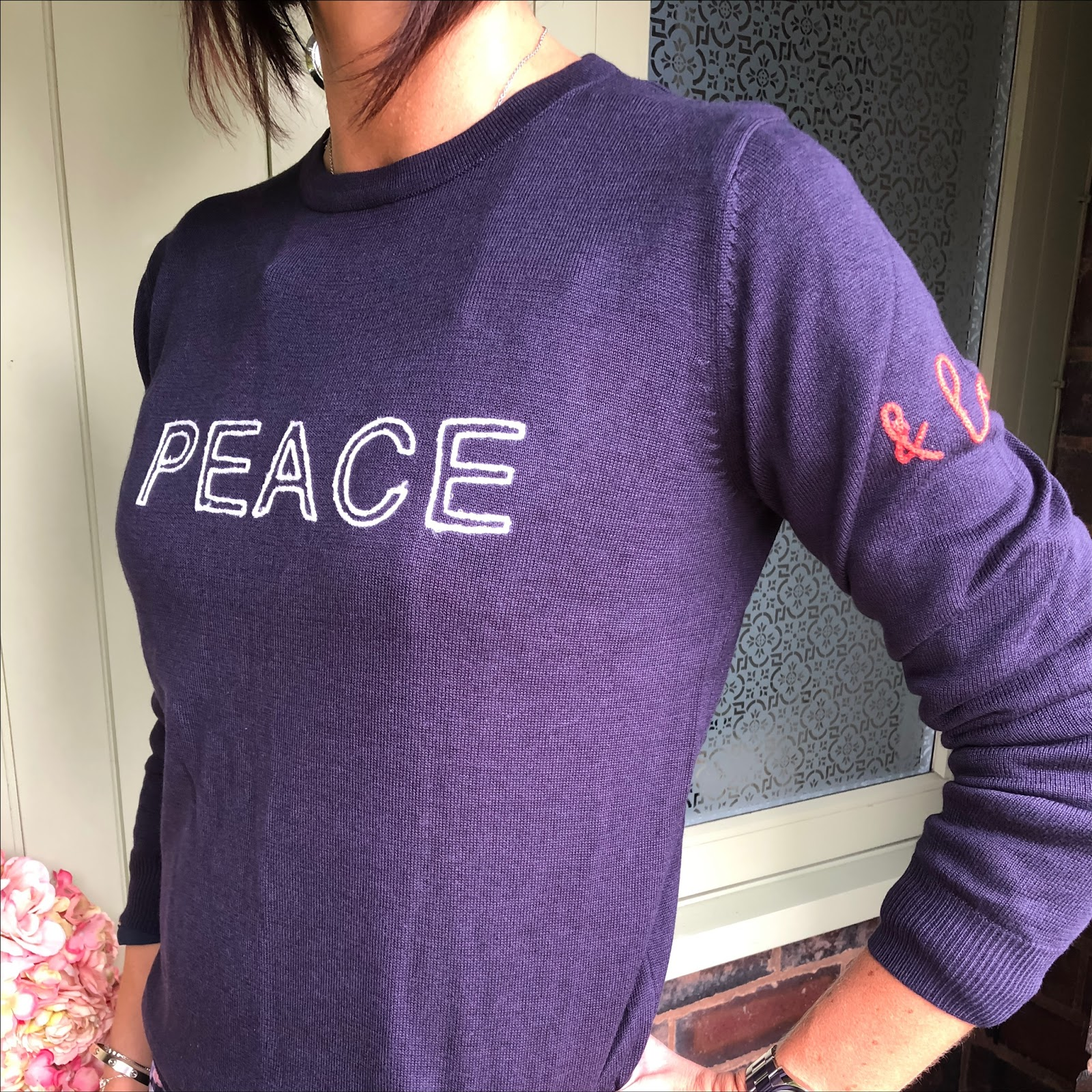 my midlife fashion, house of fraser, sugarhill boutique rita peace and love chainstitch jumper