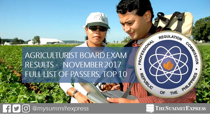 RESULTS: November 2017 Agriculturist board exam passers list, top 10