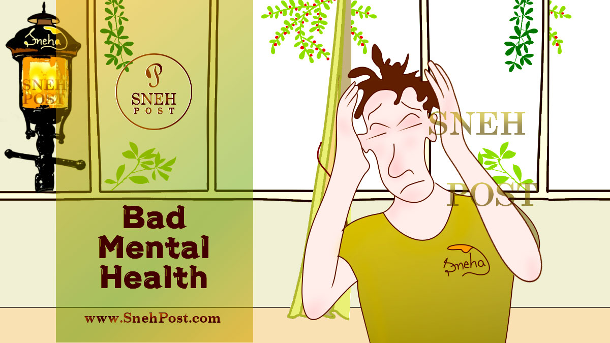 Skipping meals causes side effects, mental health problems and seizure disorder: A cartoon illustration of a boy pressing hard his head because of severe pain in it. A lamp of light sparkling in background and room's window showing the outside-greenery matching with the boy's t-shirt's green color