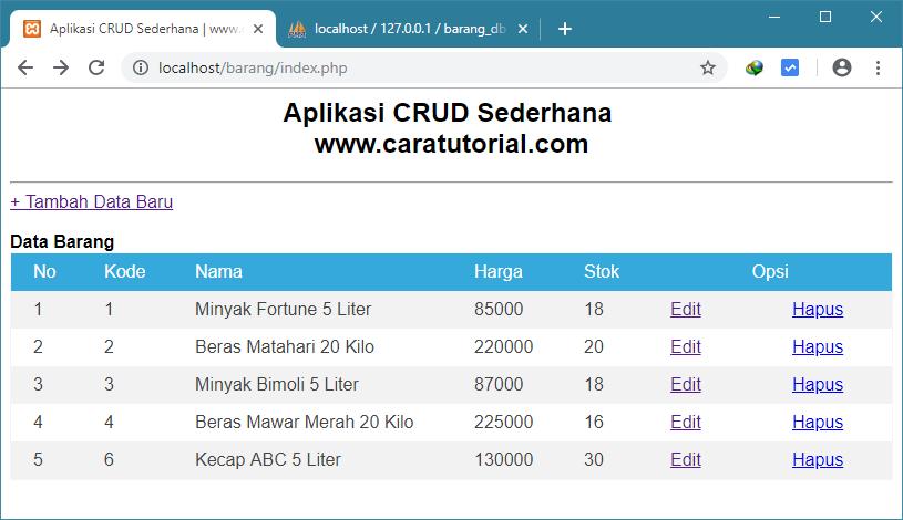 Aplikasi CRUD Sederhana PHP dan MySQL