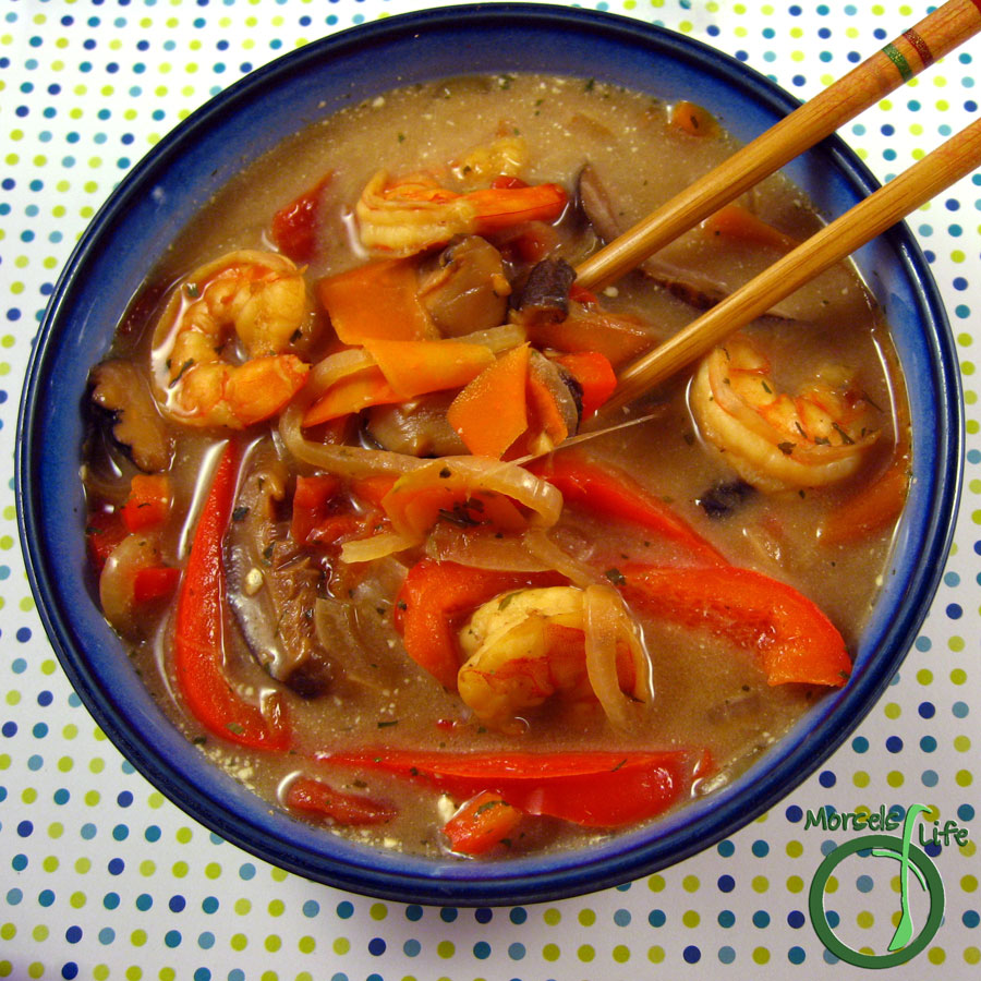 Morsels of Life - Tom Yum - Tom Yum Noodle Soup - a Thai style hot and sour soup with shrimp, tomatoes, and shiitake mushrooms.