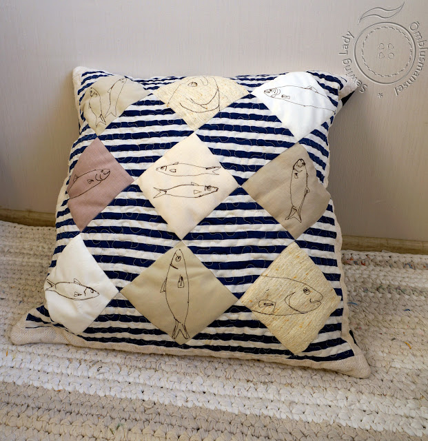patchwork pillow, nautical cushion