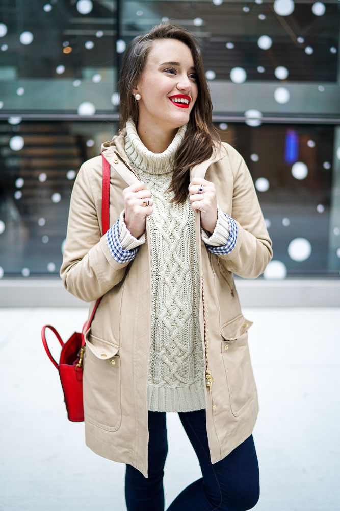 Krista Robertson, Covering the Bases,Travel Blog, NYC Blog, Preppy Blog, Style, Fashion, Fashion Blog, Travel, Must Have Designer Items, Gingham Coat, J.Crew, Preppy Looks, NYC Winter Fashion, Brookfield Place NYC, Winter Style, Oversized Sweaters, Red Lipstick