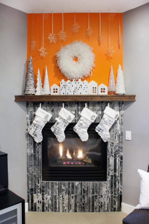 Orange and White Christmas Mantel
