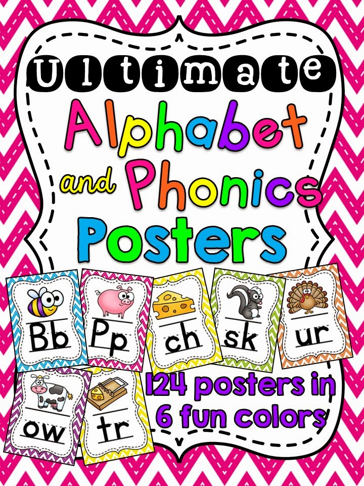 Alphabet posters and phonics sound posters to hang in your classroom in fun colors