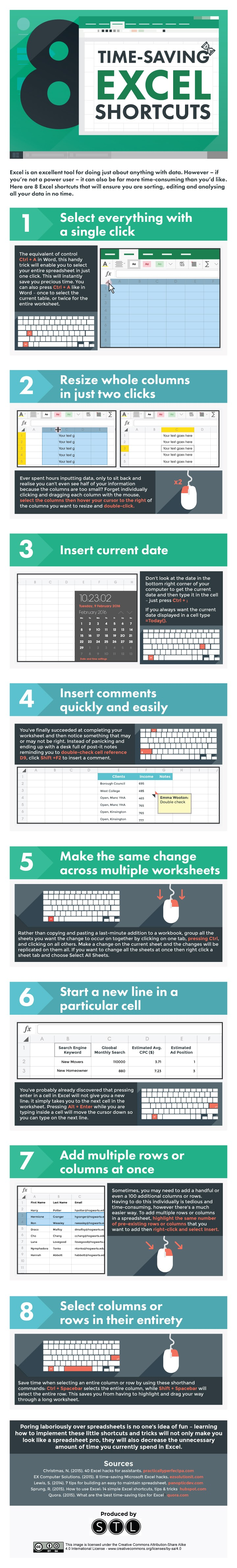 8 time saving shortcuts in Excel - #infographic