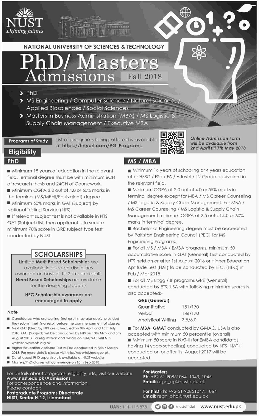 NUST Admissions Advertisement, NUST Jobs 2018