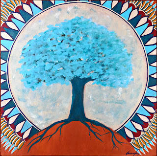 Sacred Tree Sacred Moon Original Acrylic Painting on Wood Panel 10x10 by Jeanne Fry