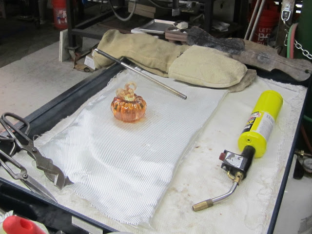 Fizzy Party's glass pumpkin at glass blowing class