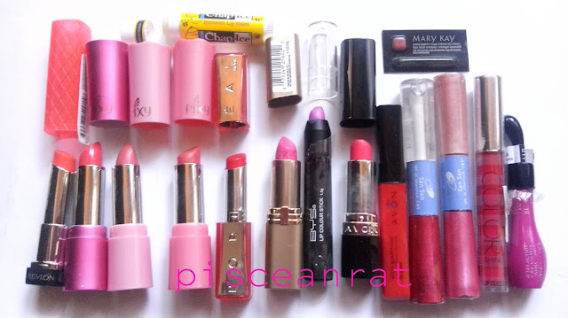 lipstick collection pisceanrat, Chap Ice Lip Balm and Mary Kay Sampler. Bottom, L-R: Revlon Colorburst Tutti Frutti, Pixy (Love these 3 because of scent and natural colors), L'Oreal (2) B500 Strawberry Juice and 180 Pink Flamingo, BYS lip color stick Thistle Do, Avon (these 2 are in the very first picture but they are still sealed then), Lip gloss San San (2), Victoria's Secret Color Shine and Excel Paris.