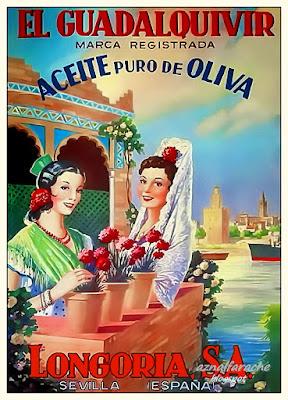 """Aceite Puro de Oliva """"El Guadalquivir"""" - Longoria S.A.  (Sevilla) - Hacia 1940"""
