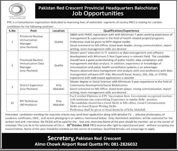 Latest Vacancies Announced in Pakistan Red Crescent PRC Govt of Balochistan 27 September 2018 - Naya Pak Jobs