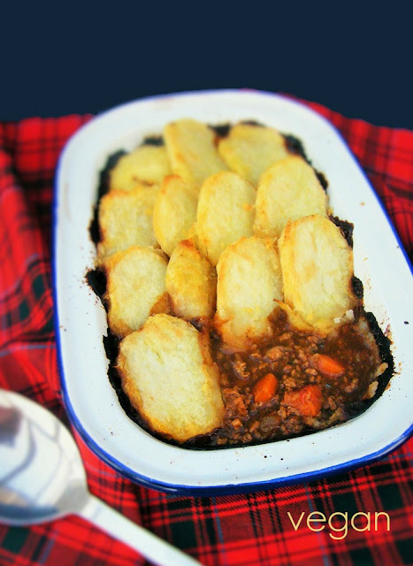Scottish Vegetarian Cottage Pie with a sliced potato topping