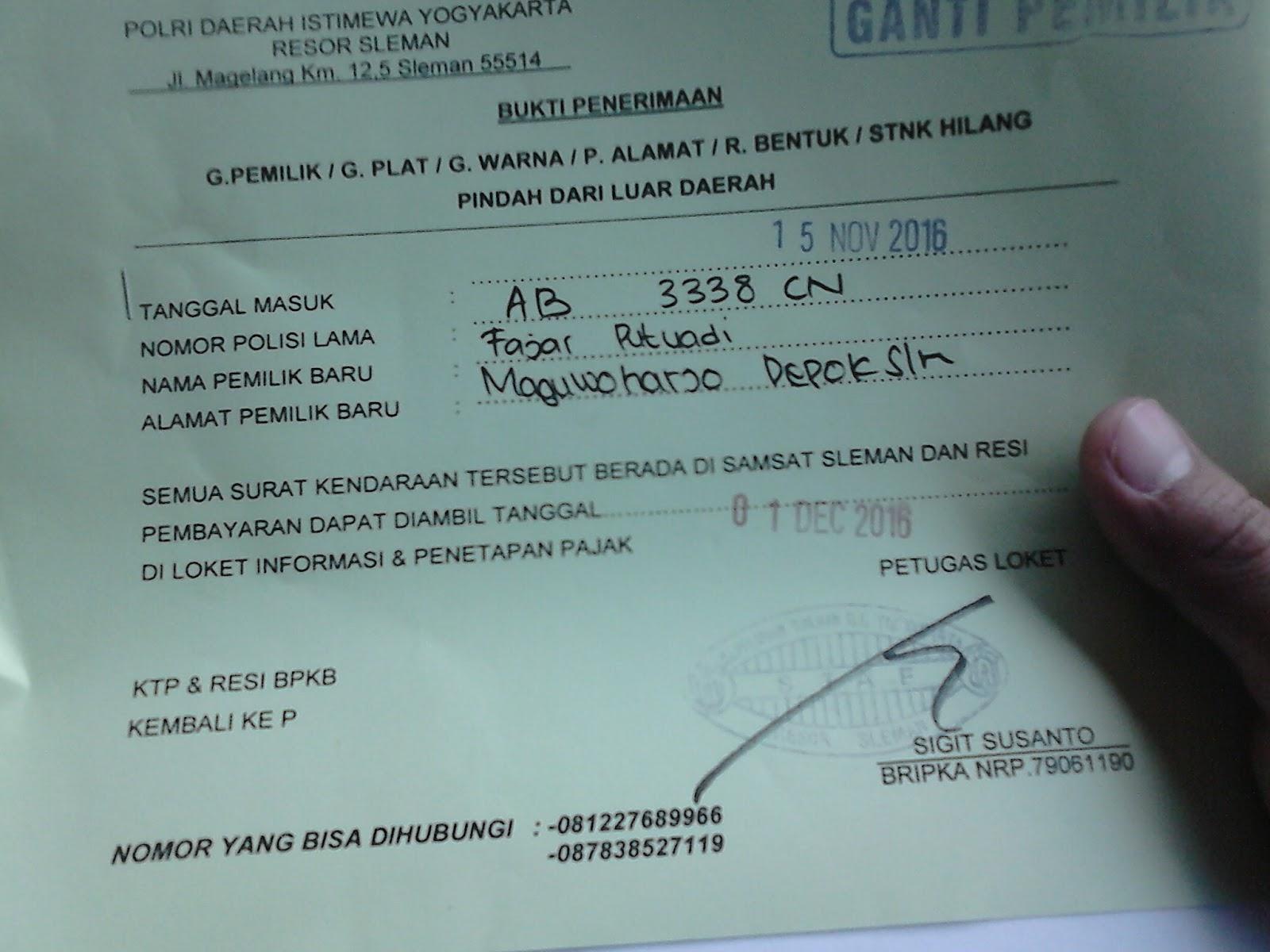 Cara Mengurus Balik Nama STNK/BPKB Sepeda Motor Sleman ...